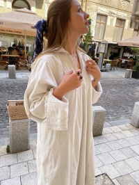 Romanian Vintage peasant linen dress from Mehedinti
