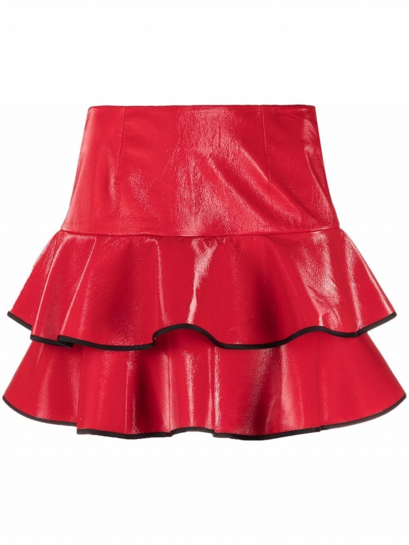 12Skin Redc ruffle layerd mini skirt