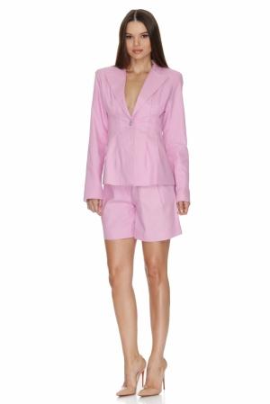 Sacou dama costum bumbac roz pastel 12 SKIN