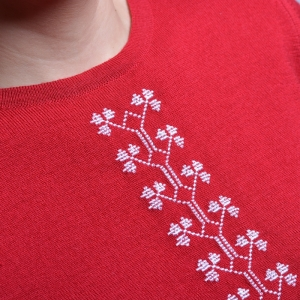 Alice Enco Red  Sweater with Romanian traditional motifs