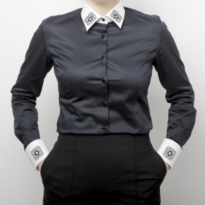 Camasa neagra cu motive traditionale Alisia Enco