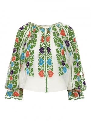 One of a kind Antique Romanian Blouse Floral Pattern Embroidery on tulle