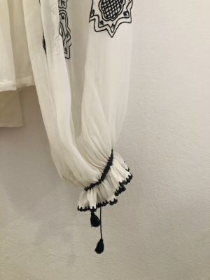 Beg. XX century Up cycled  Romanian blouse on marquisette with large embroidered sleeves