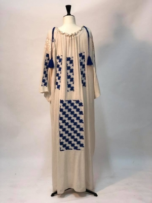 Floss silk bohemian dress with Romanian traditional embroidery - LAST ONE IN STOCK