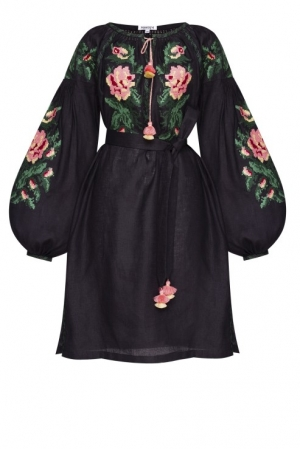 Bohemian Ukrainian folk style  mini embroidered dress in black linen Foberini