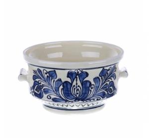 Bol cu manere ceramica traditionala albastra de Corund 15 cm