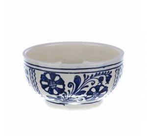 Bol mic ceramica traditionala albastra de Corund 12 cm