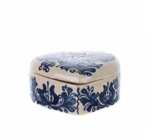 Bomboniera inimioara ceramica albastra de Corund