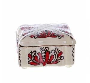 Bomboniera patrata ceramica rosie de Corund