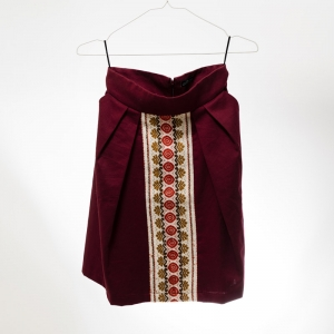 Burgundy cotton skirt folk traditional woven pattern