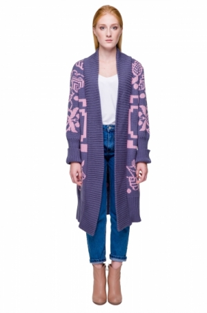 Cardigan Beskida grey-rose 2Klyvory