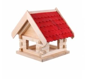 Casuta din lemn pentru pasari alba cu acoperis rosu