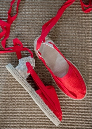 Espadrile Saint Laurent de Cerdan   lucrate manual model flat cu panglici Rosu