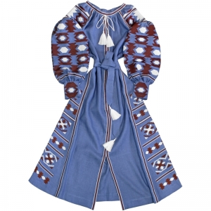 Coachella Dress Blue ethnic linen embroidered long dress vyshyvanka in bohemian style.