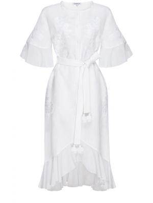 Daisy White Midi Dress Foberini