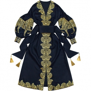 Embroidered navy blue Horses dress vyshyvanka - natural linen with ethnic embroidery - abaya kaftan robe