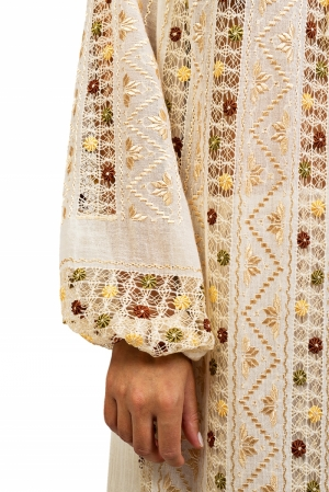 Embroidered Romanian maxi dress hand sewn with silk and cotton