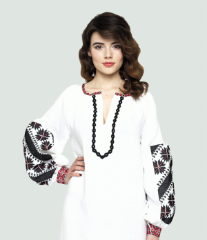 Ethnic embroidered folk dress