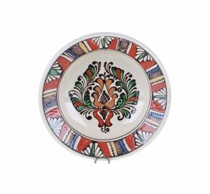 Farfurie adanca ceramica colorata de Corund 21 cm Model 3