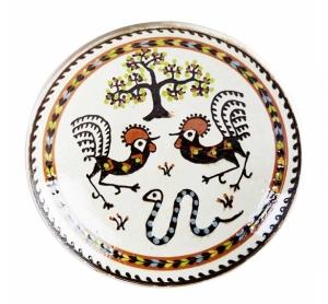 Farfurie Ceramica Horezu Copacul vietii Cocos Sarpele casei 33-37 cm