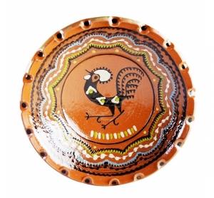 Farfurie Ceramica Horezu Maro Model Cocos incadrat Brau 33-37 cm