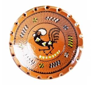 Farfurie Ceramica Horezu Maro Model Cocos incadrat Floral 33-37 cm