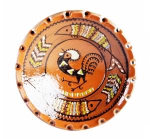 Farfurie Ceramica Horezu Maro Model Cocos incadrat Peste 33-37 cm