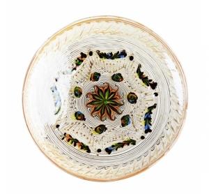 Farfurie Ceramica Horezu Model Floral Portocaliu Verde  21-24 cm