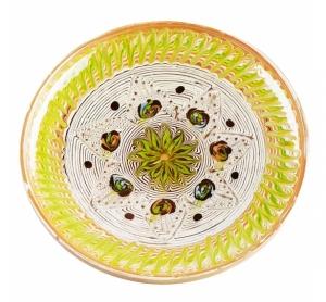 Farfurie Ceramica Horezu Model Floral Verde Deschis 21-24 cm