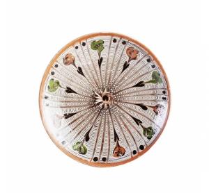 Farfurie Ceramica Horezu Model Portocaliu Verde 19-21 cm
