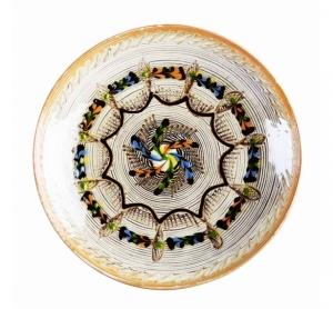 Farfurie Ceramica Horezu Model Spirala Albastru Maro 21-24 cm