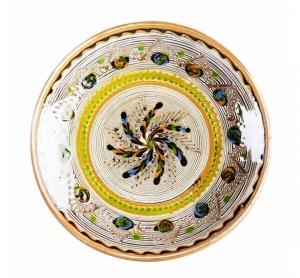 Farfurie Ceramica Horezu Model Spirala Bordura Portocaliu Verde 21-24 cm