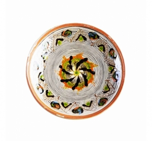 Farfurie Ceramica Horezu Model Spirala Portocaliu Negru Verde 19-21 cm