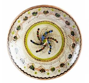 Farfurie Ceramica Horezu Model Spirala Verde Albastru 33-37 cm