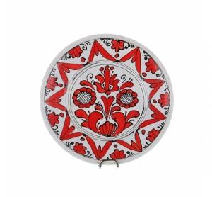Farfurie decorativa ceramica rosie de Corund 16 cm