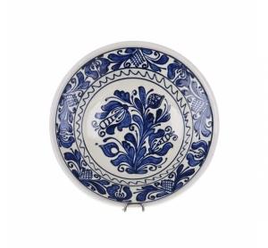 Farfurie traditionala adanca ceramica albastra de Corund 21 cm