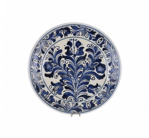 Farfurie traditionala ceramica albastra de Corund 24 cm Model 2