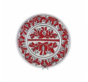 Farfurie traditionala ceramica rosie de Corund 24 cm Model 1