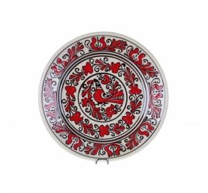 Farfurie traditionala ceramica rosie de Corund 24 cm Model 2