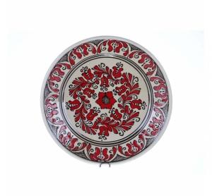 Farfurie traditionala ceramica rosie de Corund 29 cm