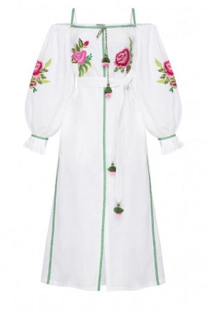 """FLORA"" WHITE DRESS WITH BARE SHOULDERS FOBERINI"