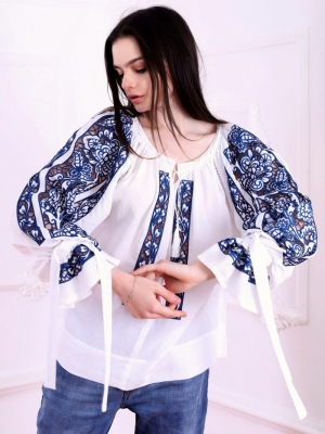Bluza dama tip ie stilizata cu broderie ajur Ajuree FLORII
