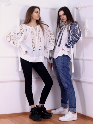 FLORII Folk Embroidery cutwork Ajouree Blouse