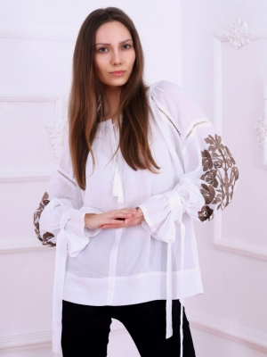 Florii Tree Of Life Folk Embroidered Blouse Cappucino Floral Embroidery on White Fabric
