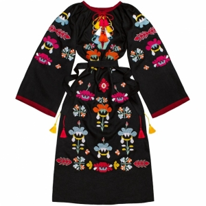 Flower Power Black Kaftan with bright floral embroidery
