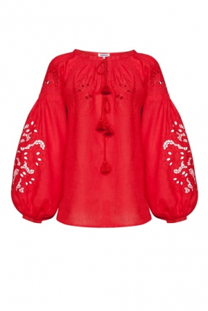 Bluza broderie Richelieu Total Red Foberini