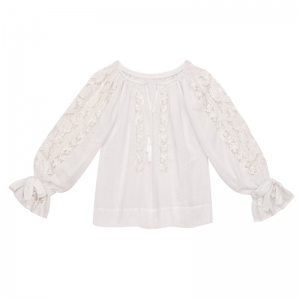 Folk Embroidery Cutwork Blouse AJOUREE WHITE FLORII