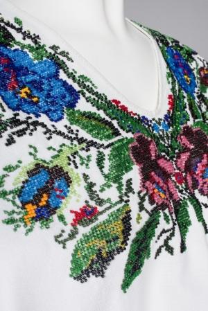 Camasa motive bucovinene lunga brodata Blooming Summer  curatorie Foberini