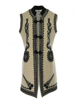 Genuine Traditional Handmade Sleeveless Long Vest Wool And Cashmere Crafted Romanian Vest Ecru