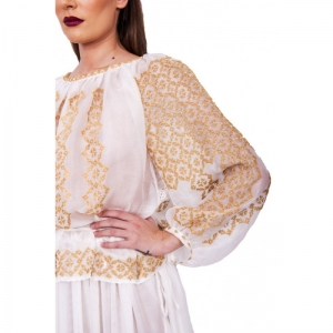 Gown dress with traditional handmade Romanian blouse CUSTOM MADE ONLY